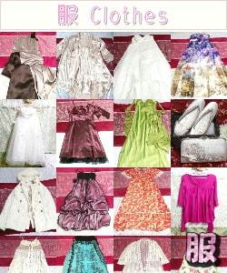 女性用美しい可愛い綺麗な服 ワンピース コート スカート チュニック キャミソール ストール ポンチョ ケープ ドレス ニット ネグリジェ カーディガン 和服 着物 靴 バッグ 全て綺麗な状態