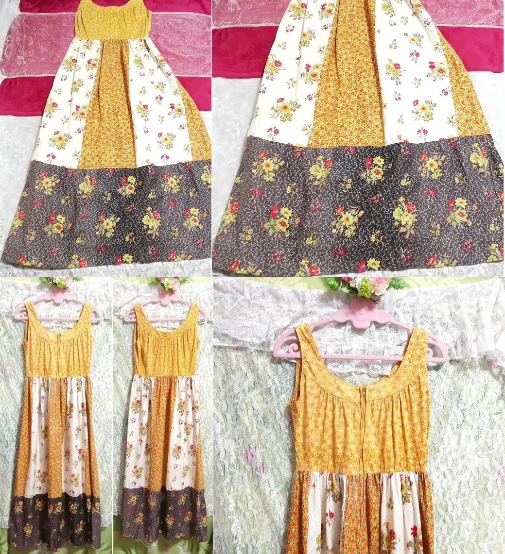 黄色エスニック柄ノースリーブマキシワンピース Yellow Ethnic Pattern
